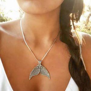 Cute Beachy Nautical Silver Mermaid Tail Necklace
